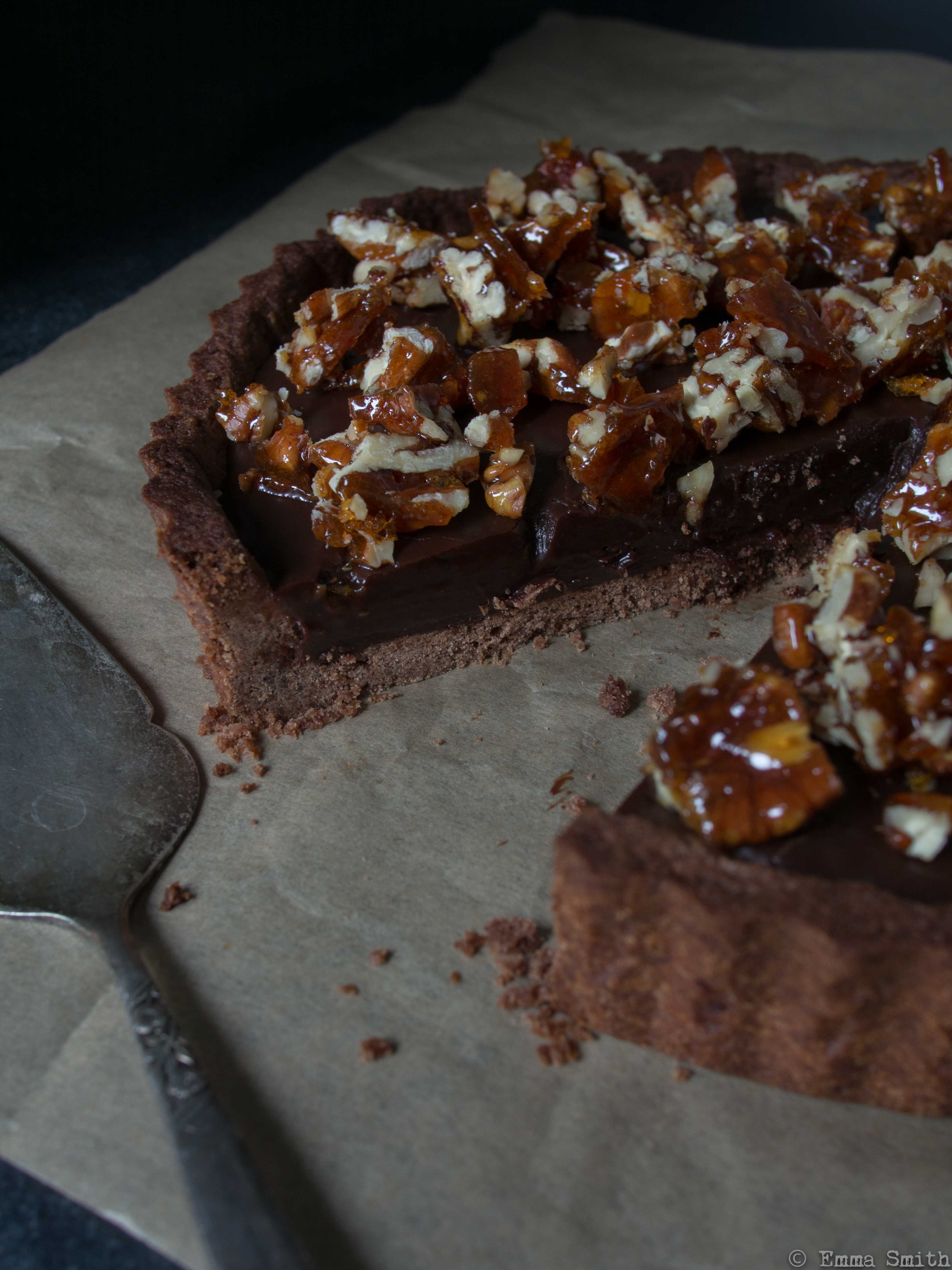 Sea-Salted Chocolate and Pecan Tart | Fork and Pixel