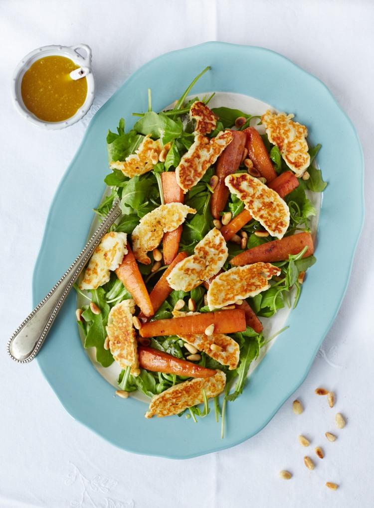 halloumi carrot and rocket salad