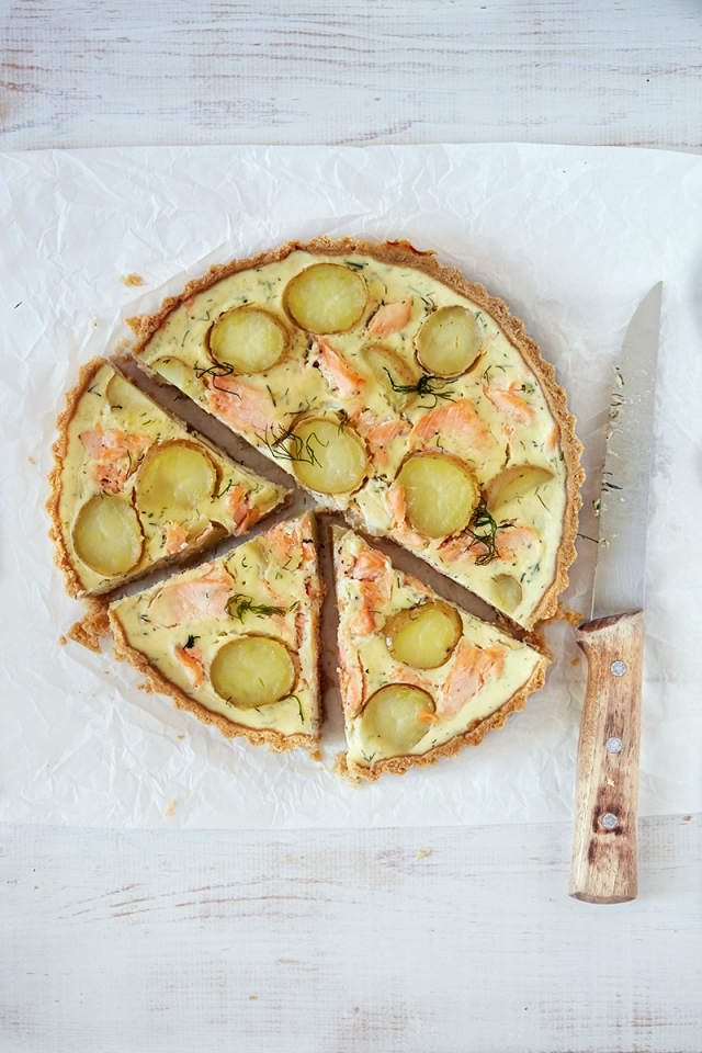 Salmon and new Potato Tart