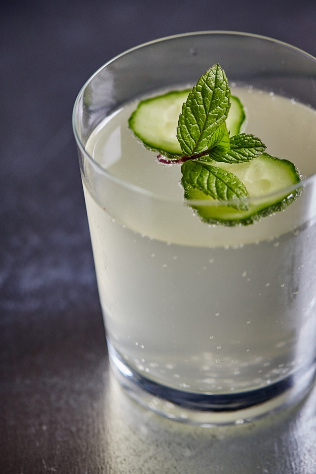 Cucumber rickey gin cocktail