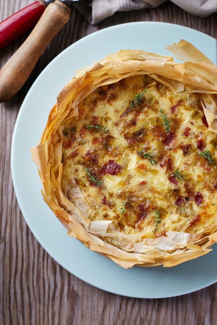Bacon and leek filo tart
