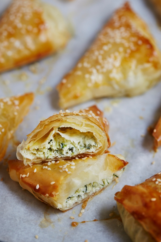 courgette ricotta & mint parcels